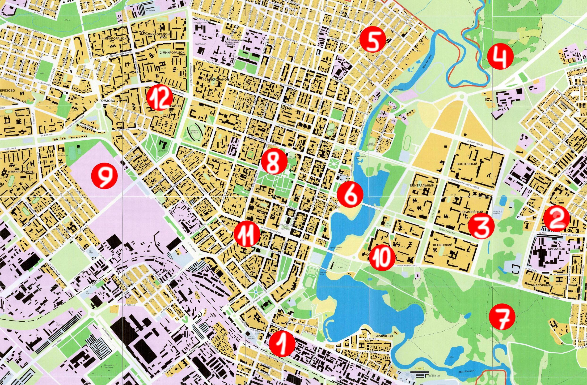 улицы города карта с фото глубокая, разделена